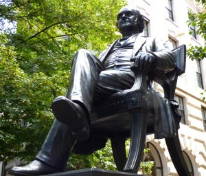 The seated statue of George Peabody.