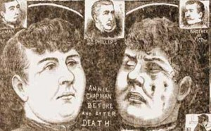 An illustration showing Annie Chapman before and after her murder.