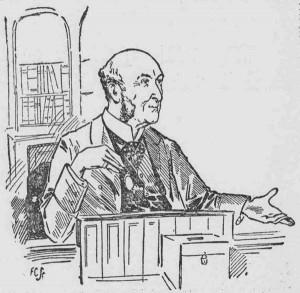 A sketch showing the magistrate Mr. De Rutzen.