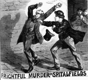 An illustration showing Henry Parker stabbing his victim.