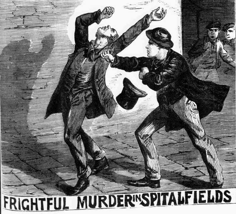 An illustration showing Henry Parker stabbing his victim.
