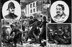 Illustrations showing the murder of Ernest Thompson.