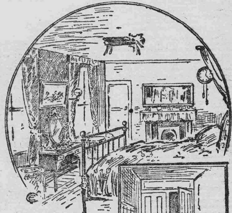 A sketch showing the bedstead alongside which the body of Mrs Gale Was discovered.