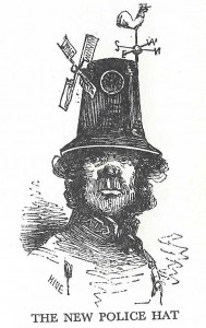 An illustration showing a policeman in a ventilated top hat with a windmill on it.