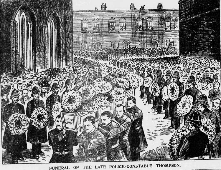 An illustration showing the funeral cortege of PC Ernest Thompson.