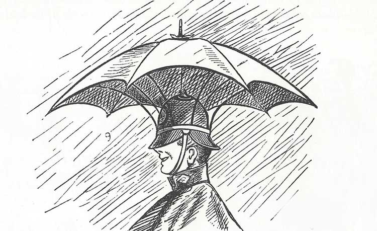 A polieman with an umbrella for a helmet.
