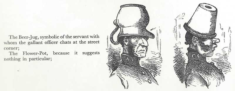 An illustration showing a suggestion for a beer jug and flower pot policeman's helmet.