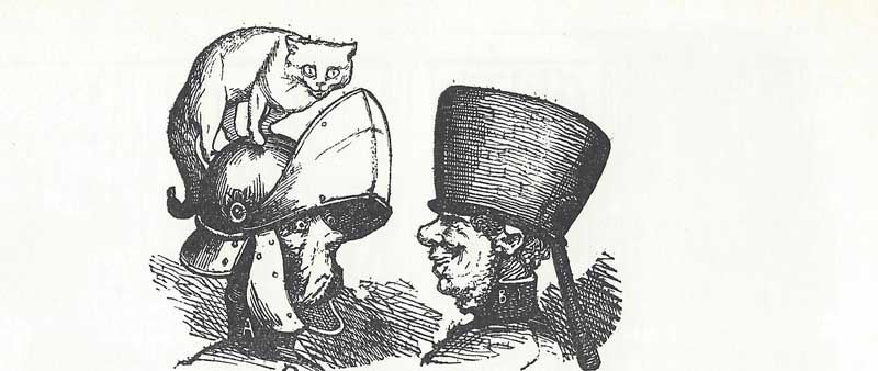 Two further helmets. One a knights helmet with a visor and a cat on top. The other a saucepan.