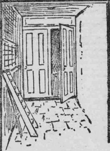 A sketch showing the open door behind which Mr Levy's body was found.