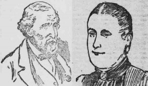 Press sketches showing the two murder victims.
