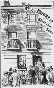 A newspaper illustration showing 2 Priory Street.
