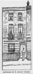 A sketch showing the exterior of 2 Priory Street.