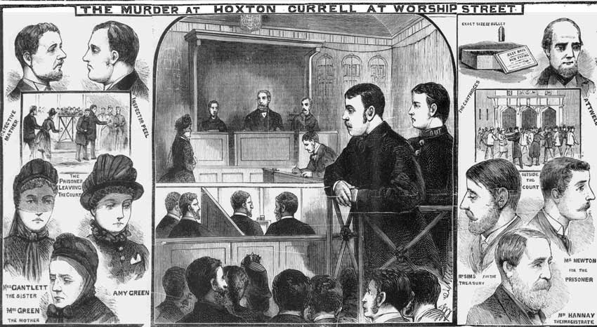 Illustration showing Currell appearing at Worship Street Police Court.