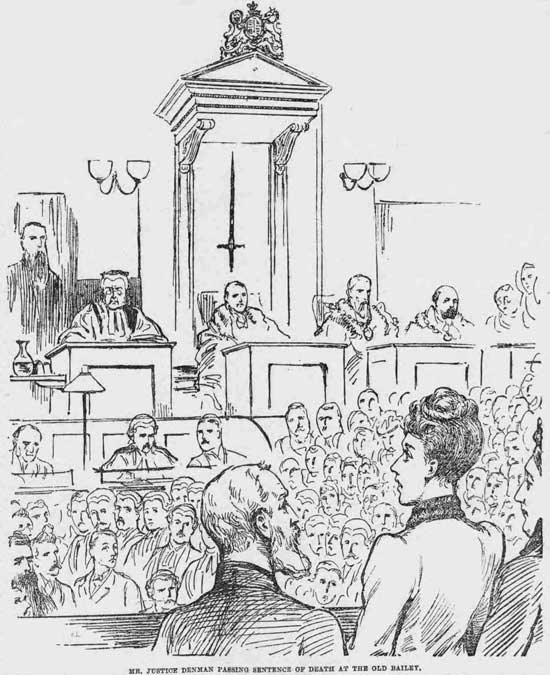 The judge passing the death sentence on Mary Pearcey.