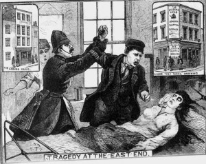 An illustration showing Dunkin leaning over the body of Elizabeth Jackson but being restrained by a policeman.