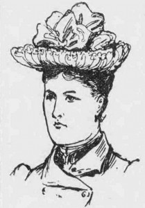 A sketch showing Elizabeth Styles wearing a hat.