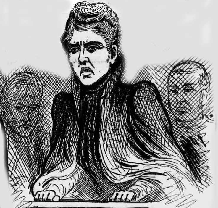 Mary Pearcey in the dock awaiting the death sentence.