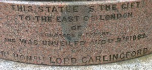 A photograph of the inscription on the Gladstone statue's plinth.
