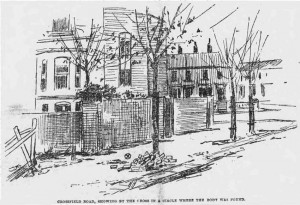 An illustration showing the murder site in Crossfield Road.