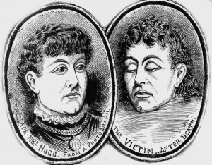 Illustrations showing the victim, Phoebe Hogg, before and after death.
