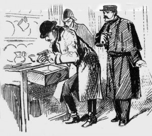 An illustration showing the police searching the rooms of the accused woman.