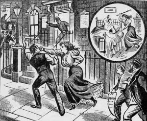 Mrs Florence Deighton shown punching her husband in the illustration in the Illustrated Police News.