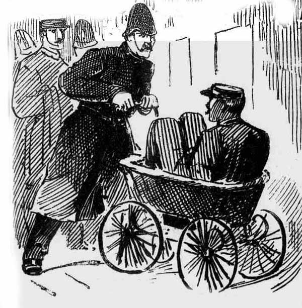 Inspector Banister being wheeled around in the perambulator.
