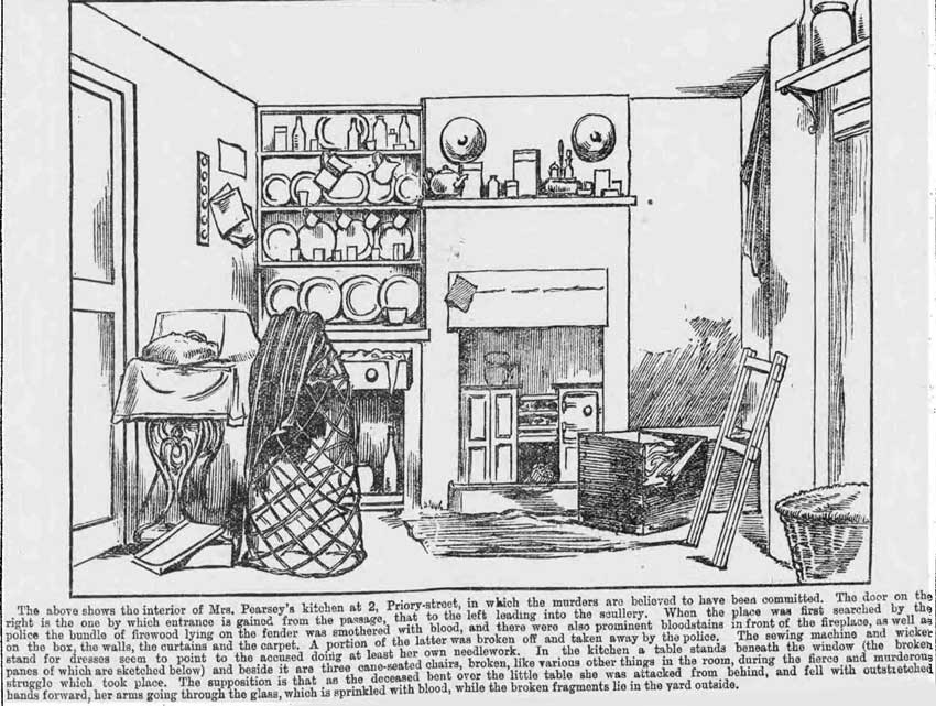An illustration showing the interior of Mary Pearcey's kitchen.