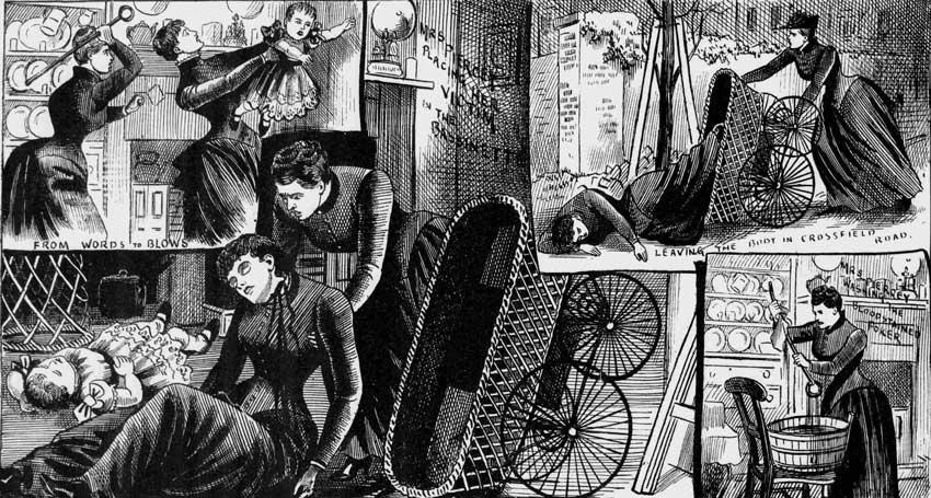 Illustrations depicting the murder of Phoebe Hogg.