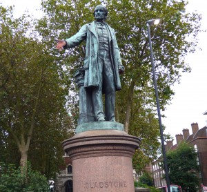 A photograph of the Gladstone Statue at Bow Church.