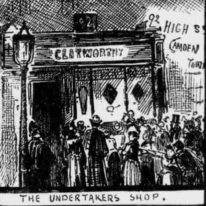 People outside the undertaker's shop.