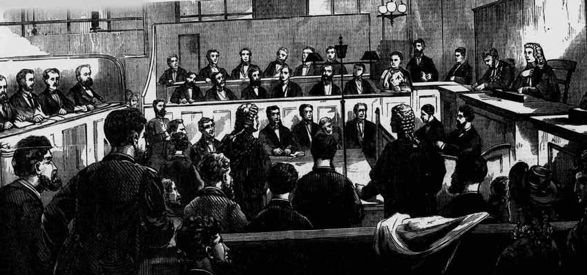 An illustration showing the detectives on trial at the Old Bailey.