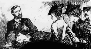 Mary Pearcey and Miss Hogg standing by the body of Phoebe Hogg.