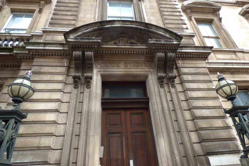 An external view of the door of the former police station on Bow Street.