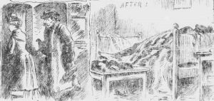 Mary Kelly leading a man into her room and then the scene of her body on the bed after her murder.