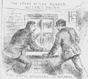 A sketch showing John McCarthy and Thomas Bowyer looking into Mary Kelly's room.