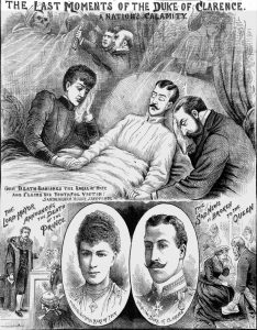 An illustration showing the Duke of Clarence on his death bed.