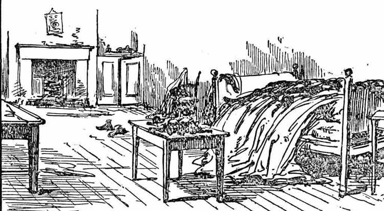 A sketch of the interior of Mary Kelly's room.