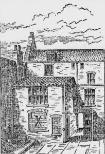 A sketch showing the exterior of the room in which Mary Kelly was murdered.