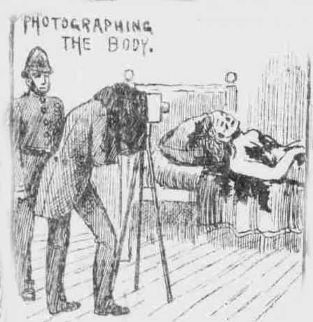 A sketch showing the photographer taking the photograph of Mary Kelly's body on the bed.,