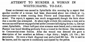 The article in the St James's Gazette breaking the news of the attack on Annie Farmer.