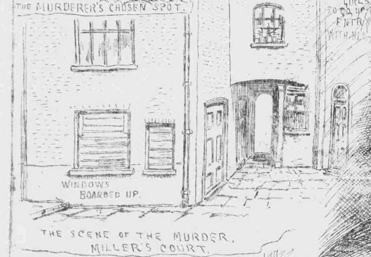 A view of the exterior of Mary Kelly's room in Miller's Court.