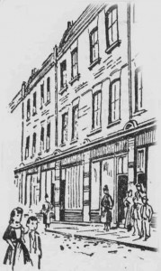 A sketch showing the exterior of 115 Brick Lane.