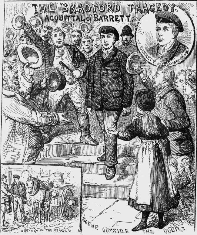 A sketch showing William Barrett being cheered as he leaves court.