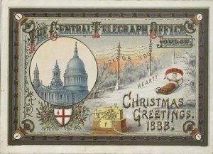 A Victorian Christmas Card with the year 1888 on it.