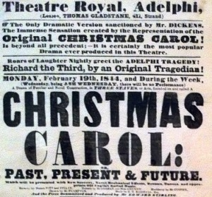 A handbill advertising a performance of A Christmas Carol.