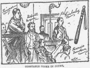 An Illustration showing PC Cooke smiling in court.