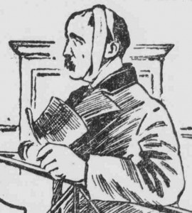 A sketch showing the accused man. Frederick Karaczewski during his appearance in court.