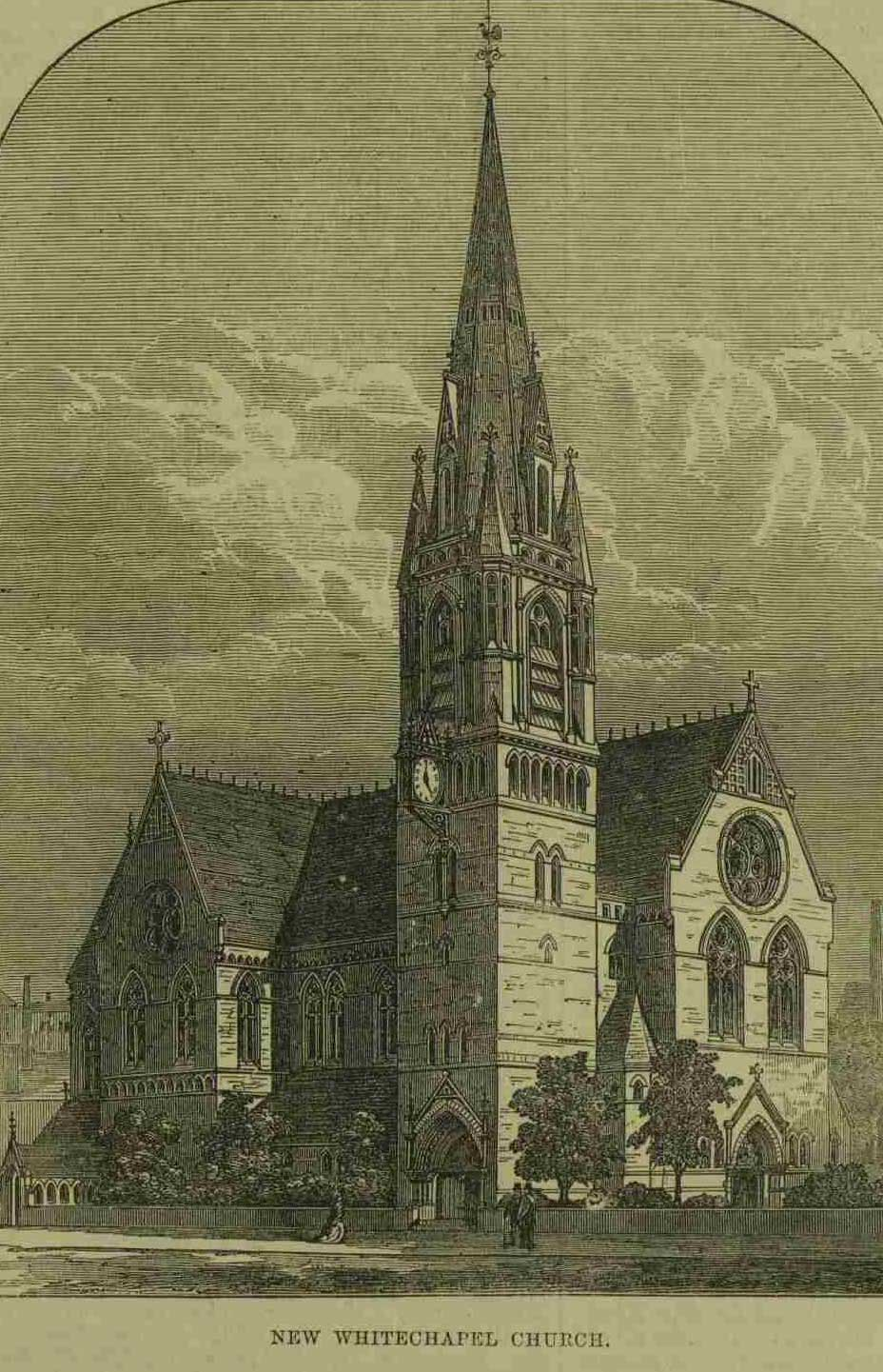 An illustration showing the proposed new church of St Mary Whitechapel.