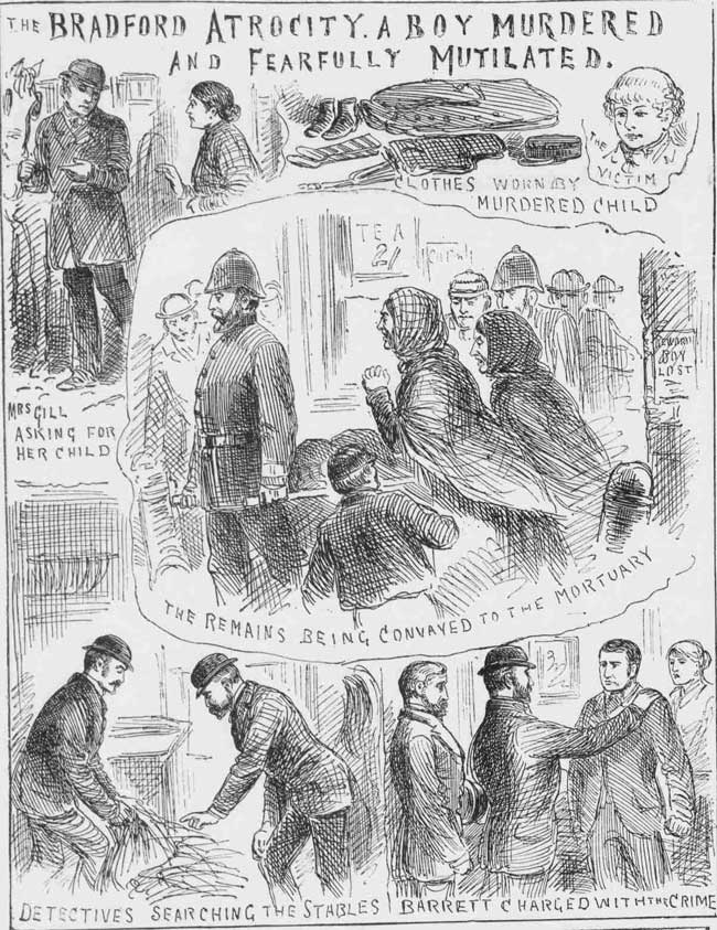Illustrations showing the finding of John Gill's body and the arrest of milkman William Barrett.